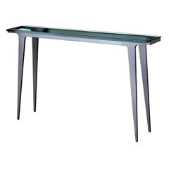 Madison Console Table By Charleston Forge with thick glass table top.