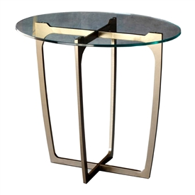 Pictured here is the forged iron Fontana End Table available in numerous fine iron finishes and table tops to choose from.