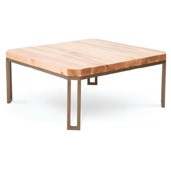 Pictured is the Davidson Square Cocktail Table which measures 42-in square by 21.25-in high with custom iron finishes and table top options to choose from.
