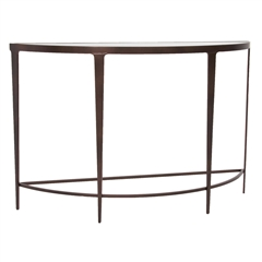 Pictured is the Charleston Forge manufactured Roundabout Console Table that measures 46-in x 15-in x 30.25-in with custom iron finishes and table top options to choose from.