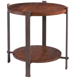 Wrought Iron Timber Round End Table by Charleston Forge