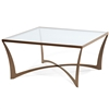 Pictured is the square Lotus Square Cocktail Table with iron base and inlaid glass table top. Table measures 36.5-inches square by 18.5-inches high and is available in several custom iron finishes.