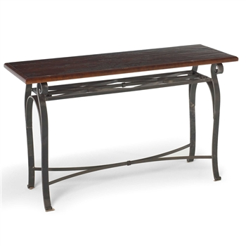 Pictured is the Charleston Forge manufactured Camino 52-in Iron Console that measures 44.5-in x 15.25-in x 30.38-in with custom iron finishes and table top options to choose from.
