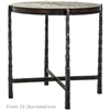 Pictured here is the forged iron Nash Round End Table available in numerous fine iron finishes and table tops to choose from.