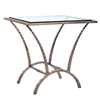 Pictured here is the forged iron Ethos End Table available in numerous fine iron finishes and table tops to choose from.