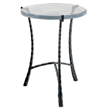 "Pictured is the 18-in Cascade Drink Table hand crafted by the artisans of Charleston Forge, with a variety of fine finishes to choose from.  18"" dia. x 22"" H"