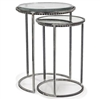 Carolina Nesting Tables pictured in our Premium Crystal Finish; Larger Table has a cast glass top, Small Table has a mirror top.  Sold as a set.