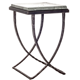 "Talmadge Drink Table by Charleston Forge with a thick piece of hand poured glass for the table top: Dimensions W 15"" x D 15.5"" x H 23"""