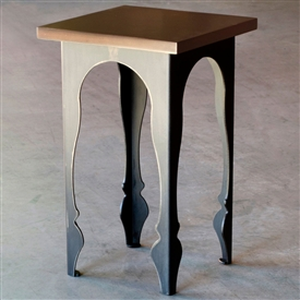 Pictured is the Wrought Iron Base Paris Drink Table with wood top made by Charleston Forge