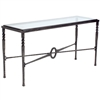 Pictured is the Charleston Forge manufactured Contemporary Omega Console Table that measures 60-in x 20-in x 32-in with custom iron finishes and table top options to choose from.
