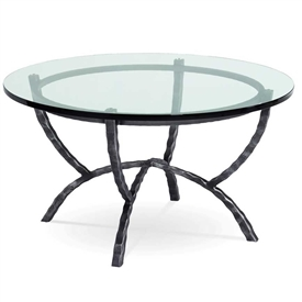 Pictured is the Hudson 36-in Round Cocktail Table which measures 36-in dia. by 20.75-in high, with custom iron finishes and table top options to choose from.