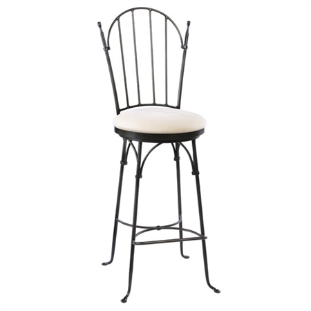 Pictured here is the Shaker Arch Swivel Bar Stool with hand forged quality craftsmanship with fine iron finishes and upholstery options to choose from.