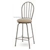 Pictured here is the Camille Swivel Bar Stool with Arms, quality hand forged construction with various iron finishes and leather or fabric upholstery options.