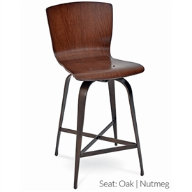 Pictured here is the Fresno Swivel Counter Stool with hand forged quality craftsmanship with fine iron finishes and upholstery options to choose from.