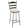 Pictured here is the Ladder Back Swivel Bar Stool with hand forged quality craftsmanship with fine iron finishes and upholstery options to choose from.