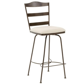 Pictured here is the Augustine Swivel Bar Stool , quality hand forged construction with various iron finishes and leather or fabric upholstery options.