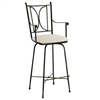 Pictured here is the Blackberry Road Swivel Bar Stool with Arms with hand forged quality craftsmanship with fine iron finishes and upholstery options to choose from.