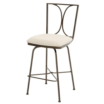 Pictured here is the Doughton Swivel Counter Stool , quality hand forged construction with various iron finishes and leather or fabric upholstery options.