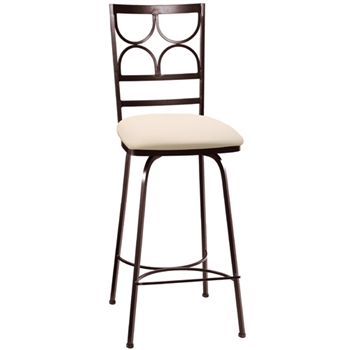 Pictured here is the Camino Swivel Bar Stool with hand forged quality craftsmanship with fine iron finishes and upholstery options to choose from.