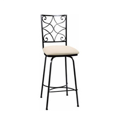 Pictured here is the Camino Scroll Swivel Counter Stool with hand forged quality craftsmanship with fine iron finishes and upholstery options to choose from.