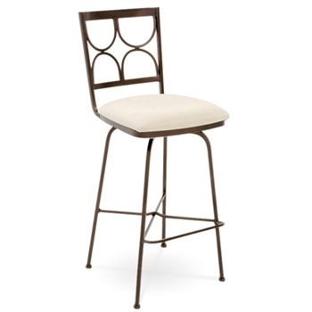 Pictured here is the Penelope Swivel Bar Stool , quality hand forged construction with various iron finishes and leather or fabric upholstery options.