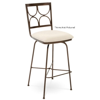 Pictured here is the Penelope Swivel Bar Stool with Arms, quality hand forged construction with various iron finishes and leather or fabric upholstery options.