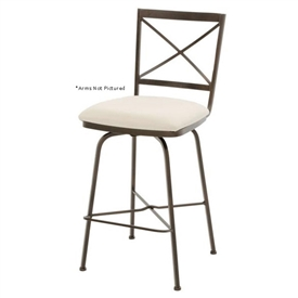 Pictured here is the Barkley Swivel Counter Stool with Arms, quality hand forged construction with various iron finishes and leather or fabric upholstery options.