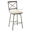 Pictured here is the Barkley Swivel Bar Stool with Arms, quality hand forged construction with various iron finishes and leather or fabric upholstery options.