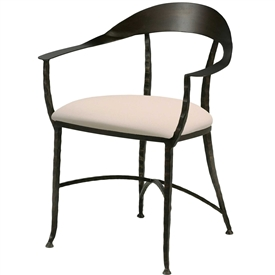 Pictured here is the Hudson Wrap Dining Chair handcrafted by Charleston Forge. Available in serveral custom finish and seat options.