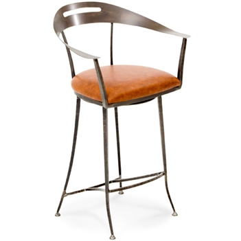 Pictured here is the Ventura Swivel Bar Stool with hand forged quality craftsmanship with fine iron finishes and upholstery options to choose from.