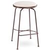 Pictured here is the Providence Swivel Backless Bar Stool with hand forged quality craftsmanship with fine iron finishes and upholstery options to choose from.