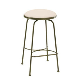 Pictured here is the Providence Swivel Backless Counter Stool with hand forged quality craftsmanship with fine iron finishes and upholstery options to choose from.