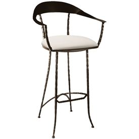 Pictured here is the Hudson Wrap Swivel Bar Stool with hand forged quality craftsmanship with fine iron finishes and upholstery options to choose from.