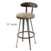 Pictured here is the Aries Swivel Counter Stool with hand forged quality craftsmanship with fine iron finishes and upholstery options to choose from.
