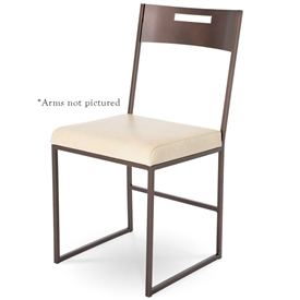Pictured here is the modern style Astor Dining Arm Chair handcrafted with solid iron frames by Charleston Forge. Available in several custom finish and seat options.