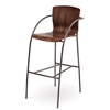 Pictured here is the Merritt Counter Stool with Arms, quality hand forged construction with various iron finishes and wooded seat options.