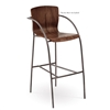 Pictured here is the Merritt Bar Stool , quality hand forged construction with various iron finishes and wooden seat options.