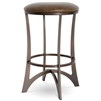 Pictured here is the Lotus Swivel Bar Stool with a transitional style iron base and upholstered seat cushion. Available in several custom iron finish and premium upholstery options.