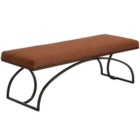Pictured here is the 60 inch wide Monarch Bench made of wrought iron with an upholstered bench top - Several finish and upholstery options are available.