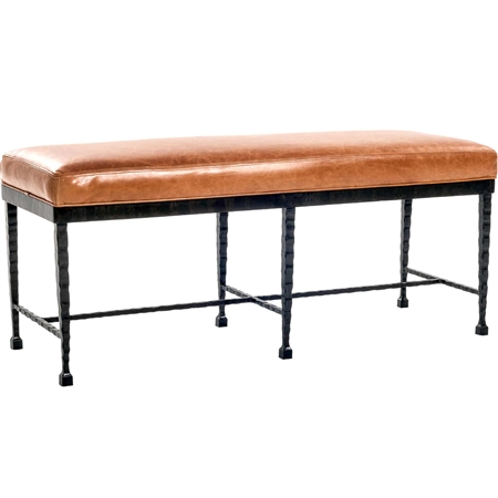 Pictured Here is the Prague Bench with wrought iron frame and legs, upholstered with a premium leather cushion - Available in several custom iron finishes and upholstery options.