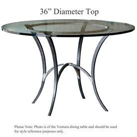 Pictured here is the Ventura Counter Height Table with 36-in top, available in custom iron finishes and various wood, glass and stone table tops to choose from.