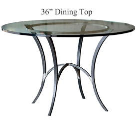 "Pictured: Ventura 36"" Dining Table with 12+ iron finishes and top options for you to choose. Comfortably seats 4"