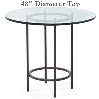 Pictured here is the Helios Bar Height Table with 48-in top, available in custom iron finishes and various wood, glass or stone table tops to choose from.