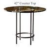 Pictured here is the Helios Counter Height Table with 42-in top, available in custom iron finishes and various wood, glass and stone table tops to choose from.