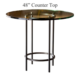 Pictured here is the Helios Counter Height Table with 48-in top, available in custom iron finishes and various wood, glass and stone table tops to choose from.