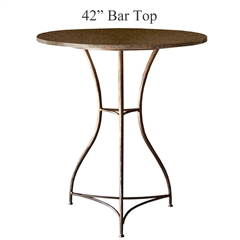 Pictured here is the Savoy Bar Height Table with 42-in top, available in custom iron finishes and various wood, glass or stone table tops to choose from.