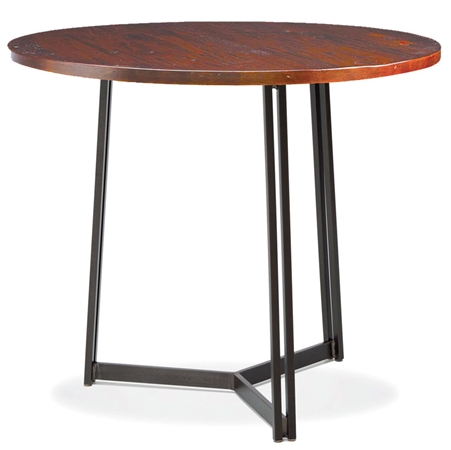 Pictured here is the Kern Bar Height Table with 42-in top, available in custom iron finishes and various wood, glass or stone table tops to choose from.