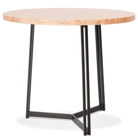 Pictured here is the Kern Bar Height Table with 48-in top, available in custom iron finishes and various wood, glass or stone table tops to choose from.