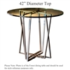 Pictured here is the Forrest Counter Height Table with 42-in top, available in custom iron finishes and various wood, glass and stone table tops to choose from.