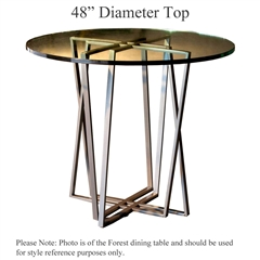 Pictured here is the Forrest Counter Height Table with 48-in top, available in custom iron finishes and various wood, glass and stone table tops to choose from.